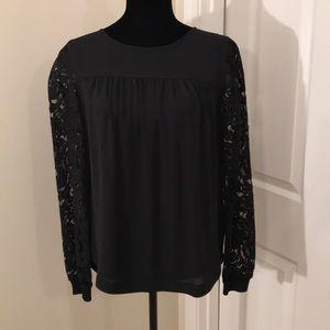 LOFT black blouse w/lace sleeves. Great buy!!